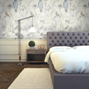 Designer pastel and gold birds wallpaper design featuring drawings of birds and flowers. Delicate and pretty for a stylish interior.