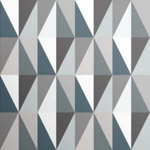 London Underground style tiles of triangles in rich emerald, blue, grey and white make up the bold Diamonds wallpaper design.