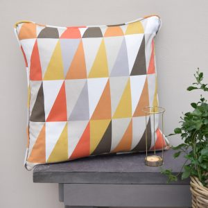 The Jester colours of the Triangle Retro Orange Cushion create an eye catching feature for your interior.