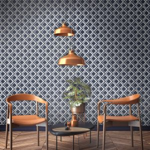 Vintage Style Navy wallpaper in rich dark blue white and grey. Squared geometric print with trompe l'oeil effect.