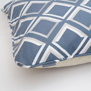 Rich blue geometric print cushion. Bespoke colour variations can be ordered. Create a modern look with reference to vintage style.