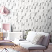 Luxury grey triangle geometric wallpaper. Beautiful simple print for childrens, bedroom, living room or stairway decor.