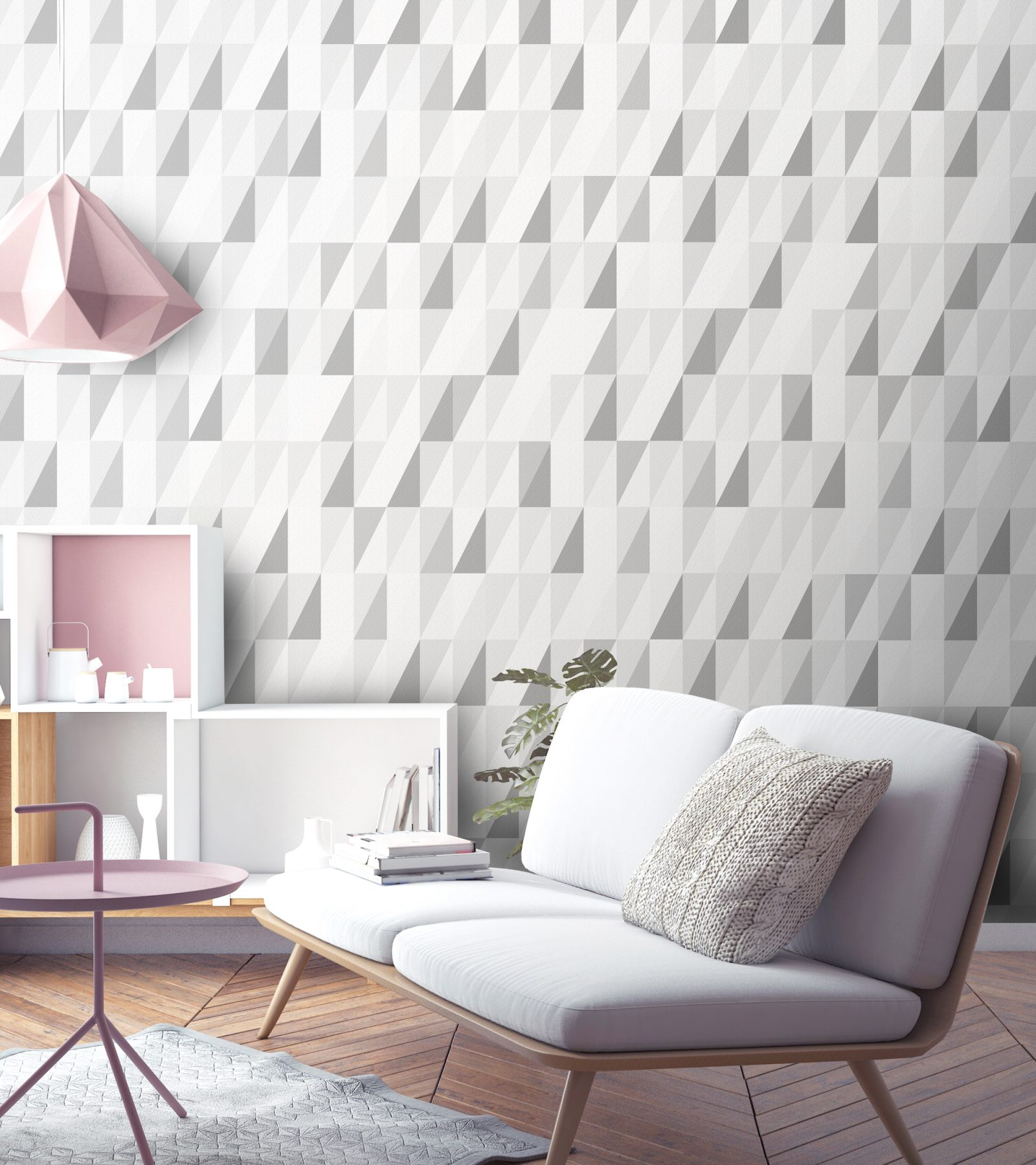 Luxury Triangle Geometric Grey Wallpaper Beautiful Simple Print For Childrens Bedroom Living Room