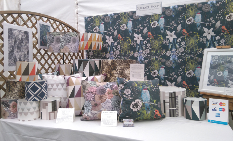 Selling unique handmade cushions, luxury wallpaper and contemporary lampshades at the Shrewsbury Flowers Shwo 2016 in the Craft Marquee for crafters and artists.