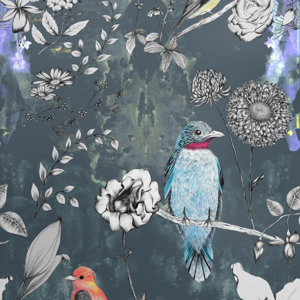 Our most popular birds and flowers wallpaper features all original hand drawn birds and hand drawn flowers. The City tale variation has a rich blue background and pops of colour with bright blue, orange and yellow birds.