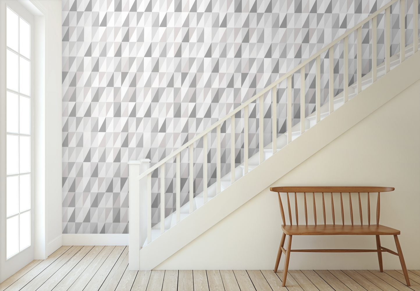 Triangles Earl Grey Wallpaper Modern Designer wallpaper with beautiful shades of grey in a triangle print.