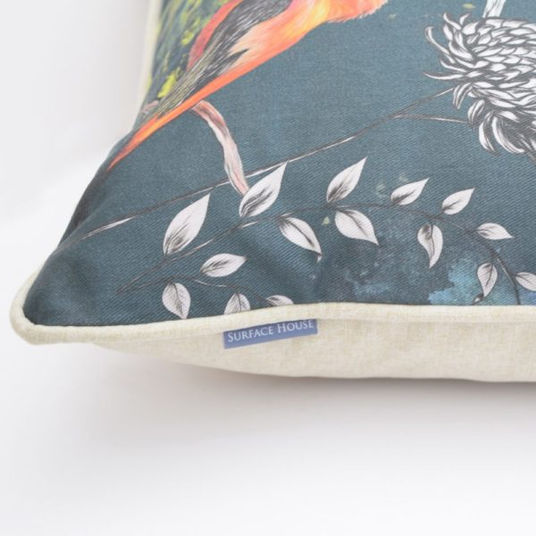 Highly detailed and hand crafted in England, Uk at our studio. The Birds Design cushion is beautiful and bold interior accessory.