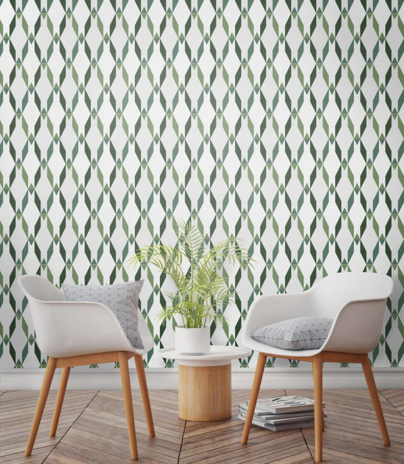 Tropical palm leaf trellis design, avocado green trellis contemporary wallpaper. Bold wallpaper for living room wallpaper ideas.
