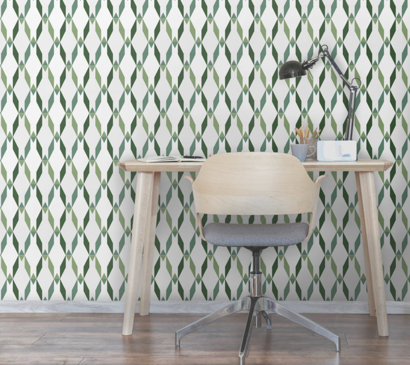 Avocado green geometric wallpaper with dimensional effects. Simple and neat pattern for modern interiors.