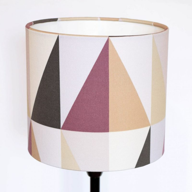 Handmade luxury interior decoration pieces. Diamond geometric print lamp shades in rich purple print.