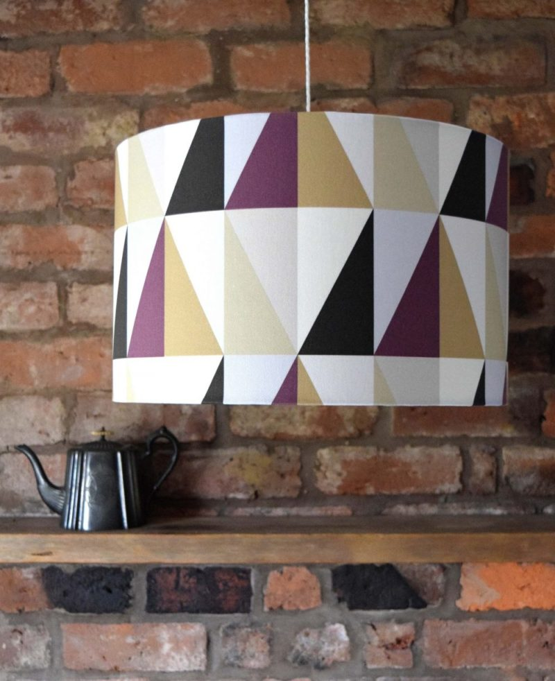 Designer fabric diamond print purple lampshade. Hand crafted by Surface House. Made in the UK. Rich purple, cream, black and white for a sophisticated look.