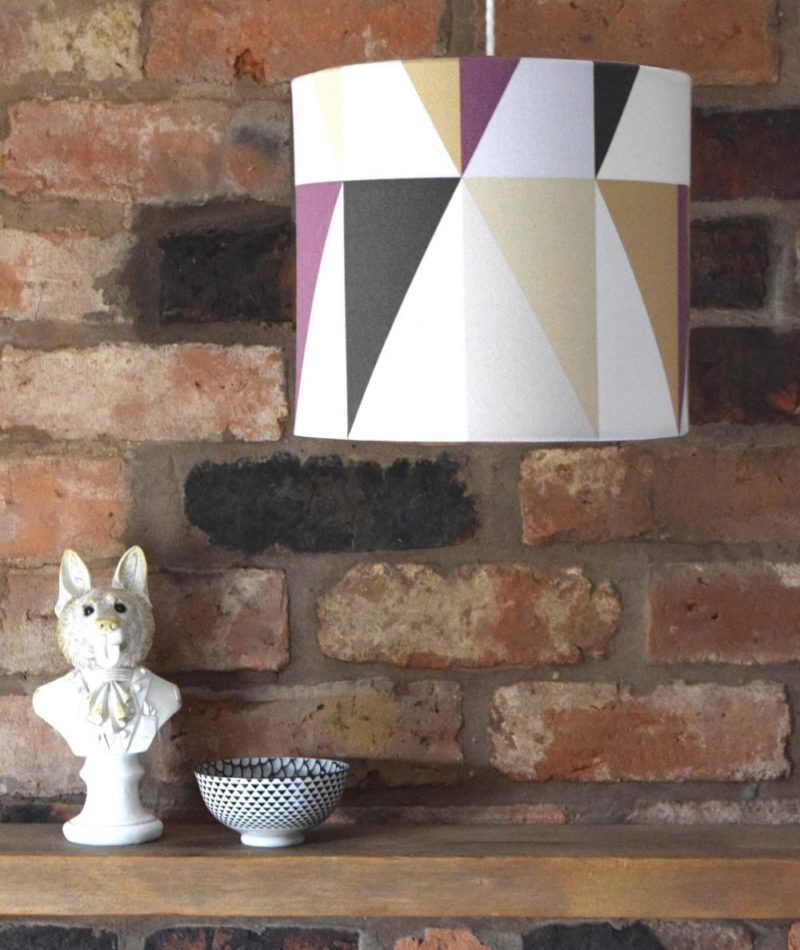 High end fabric lampshade, with purple geometric print. Available as a small or large shade, with custom variations too.