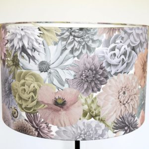 Handmade Lampshade of UK grown flowers photographed and collaged into a designer floral print and printed onto high quality fabric.