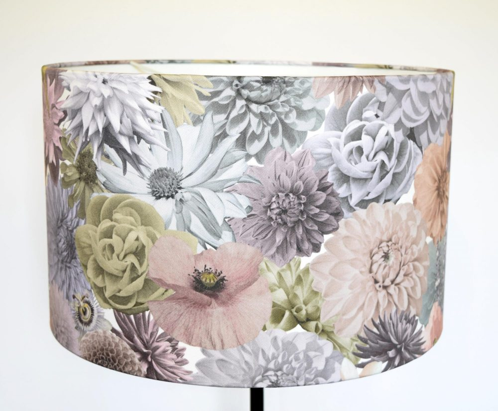Floral lampshade designer lampshade real flowers surface house handmade lampshade of uk grown flowers photographed and collaged into a designer floral print and printed aloadofball Image collections