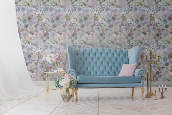 Beautiful pastel wallpaper with pink, purple and yellow. Vintage floral wallpaper in the stye of Ted Baker.