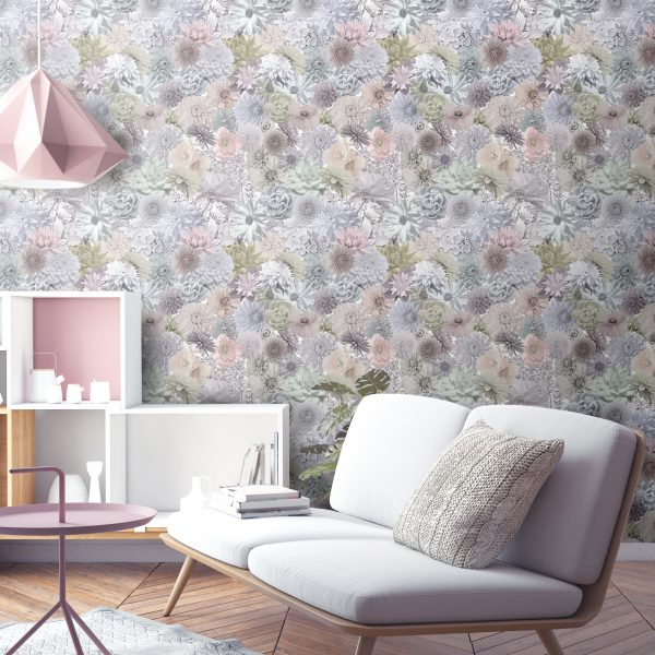 Ted Baker style pastel floral print wallpaper for designer homes. Made in the UK with Free delivery