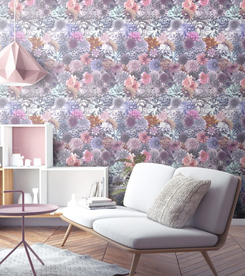Rich pink and purple bold floral wallpaper with dahlias and poppies. Create a bold and dramatic living room or hallway.