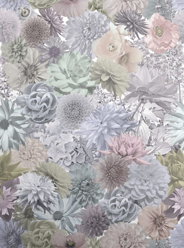 Pastel shades of florals collaged together to create a beautiful and dramatic, luxury pastel wallpaper.