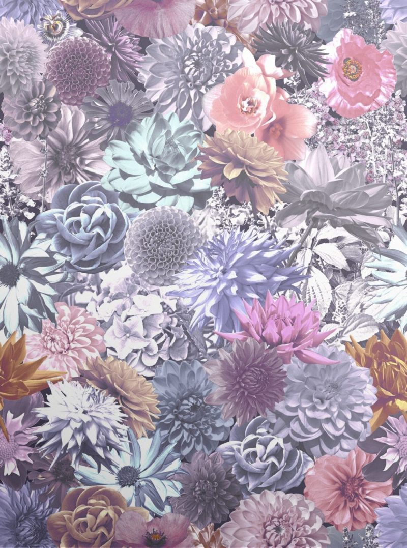 Bold bright and rich coloured floral wallpaper. Featuring photographs collaged together of British Summertime flowers.