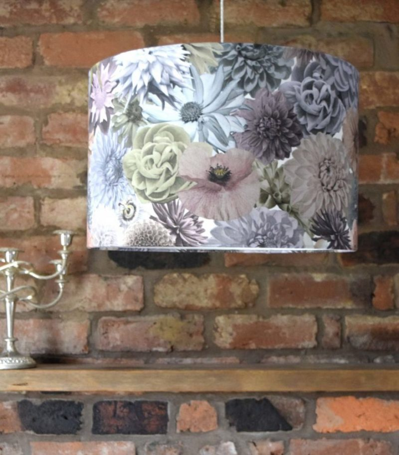 Bold printed fabric floral lampshade for contemporary interiors. Beautiful focus accessory.