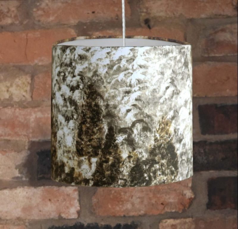 Gold Hand Painted Forest Lampshade. Luxury fabric and beautiful contemporary design features.