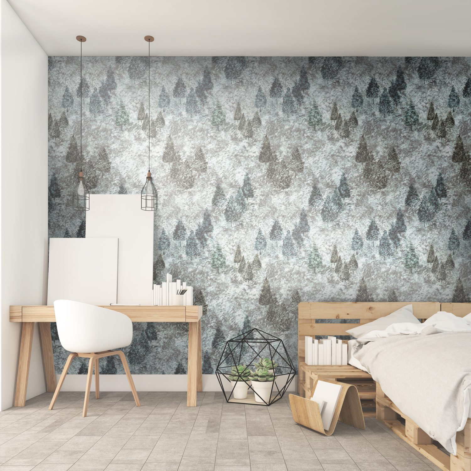 Blue Tetrad Forestry Woodland trees wallpaper with a forest scene print. Acyclic painting with a