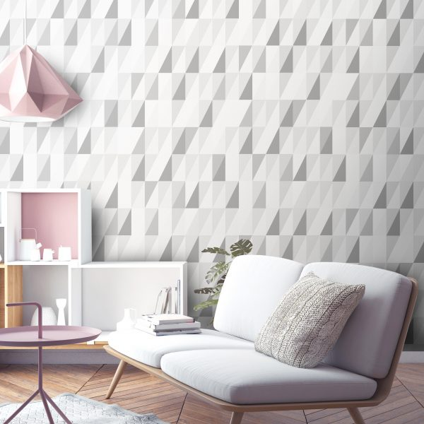 Luxury triangle geometric grey wallpaper. Beautiful simple print for childrens, bedroom, living room or stairway decor.