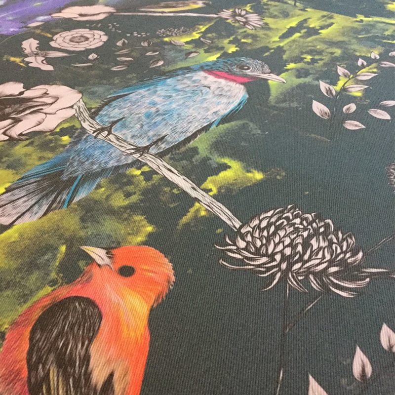 Birds and Flowers printed fabric for creating luxury cushions. Our cushions are handmade in our studio in the UK.