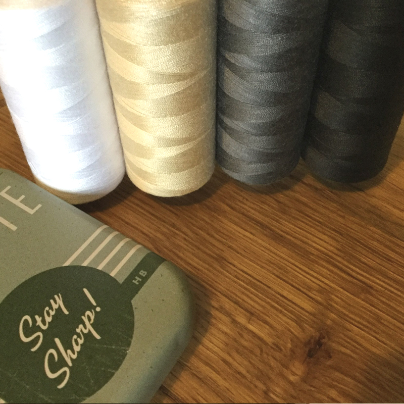 High quality cotton sewing threads in white, gold, grey and black. Ready to make Surface House cushions.