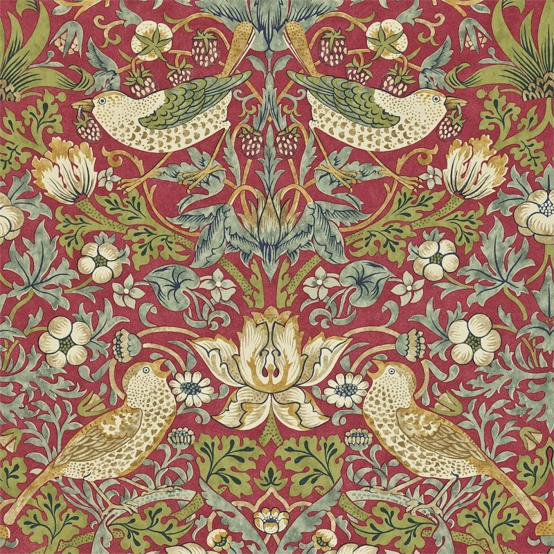 Our Birds and Flowers Wallpaper designs are inspired by the classic design works of William Morris. The Strawberry thief was a key inspiration to us.