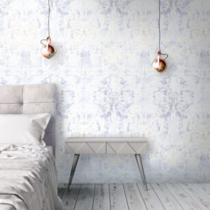 Abstract wallpaper with symmetry. Lilac white and grey wallpaper for unique homes