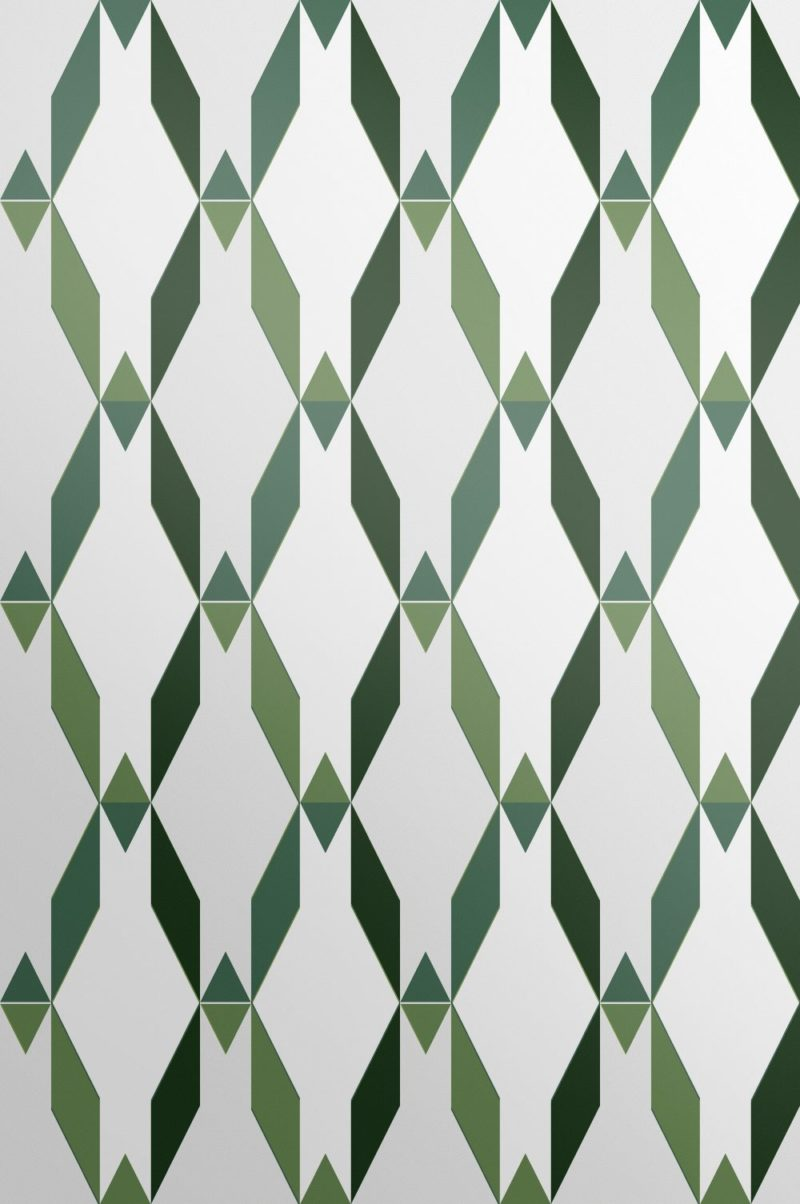 Designer avocado green contemporary wallpaper in a geometric shaped design. Hand drawn and print to the highest quality and standards.