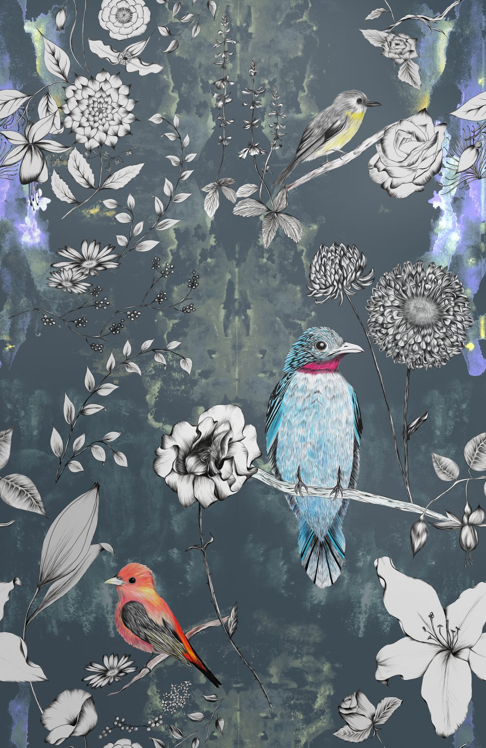 Birds and Flowers Wallpaper Luxury Hand Drawn Print Surface House