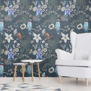Unique luxury wallpaper designed and printed in the UK. With birds and flowers hand drawn in a whimsical way. Perfect for opulent bedrooms or ambient dining rooms.