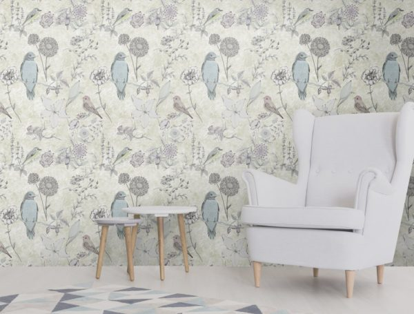 Designer pastel and gold bird wallpaper design featuring drawings of birds and flowers. Delicate and pretty for a stylish interior.