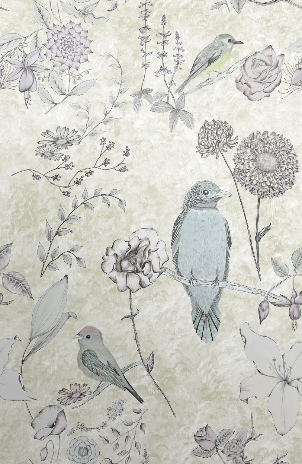 Birds Wallpaper Opulent Birds And Flowers Wallcovering Surface House