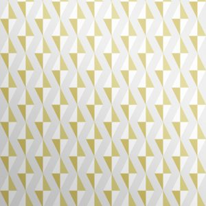 Bold and contemporary mustard wallpaper yellow geometric wallpaper with floating diamond 3D effect pattern.