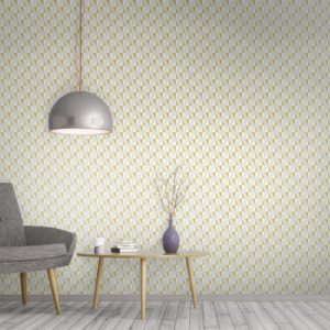 Luxurious diamond print geometric mustard wallpaper with floating diamond print. Surface House luxury wallpaper and designer home accessories.