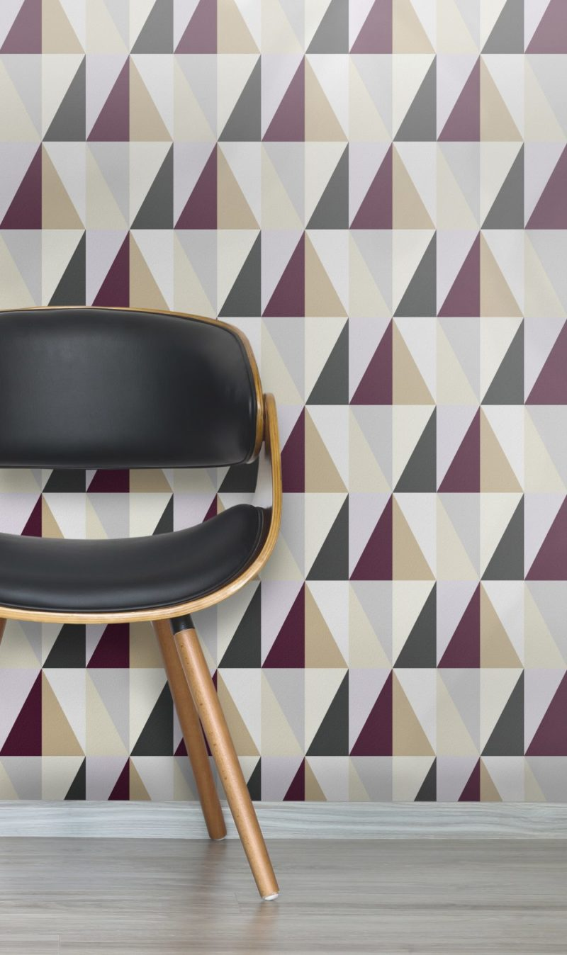 London Underground tube tiles inspired this Geometric wallpaper. Baker St heritage purple, cream and black colour theme.
