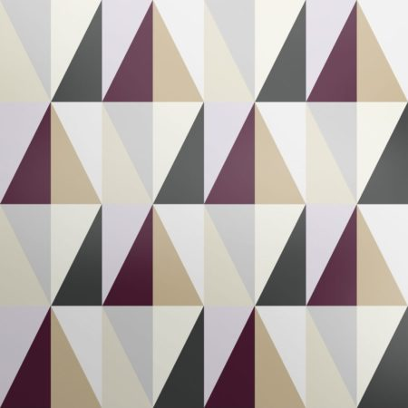 Diamonds geometric wallpaper design inspired by the patterns of the London underground tube tiles. Purple, cream and smoky black create a heritage looking wallpaper.