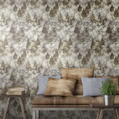 Luxury brown and gold forest wallpaper to create a Nordic style in your living, dining or bedroom.