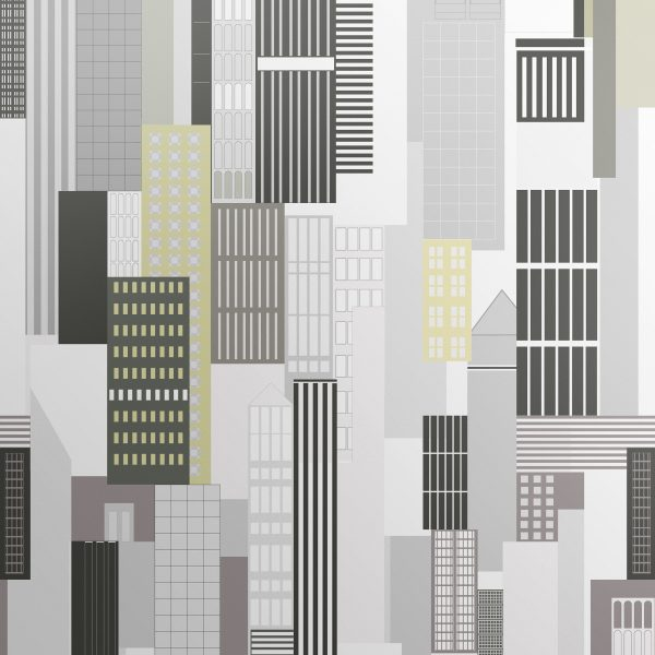 New York City Inspired Cityscape wallpaper. Simple and elegant designer wallpaper for contemporary rooms.