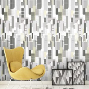 Bold black, grey, white and yellow New York Cityscape Wallpaper created from simple and neat drawings of buildings, offices and homes.