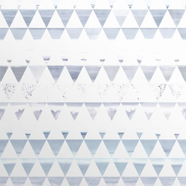 Blue Scandinavian wallpaper with ink drawings of scenery in a triangle  structure.Scenic Triangles in