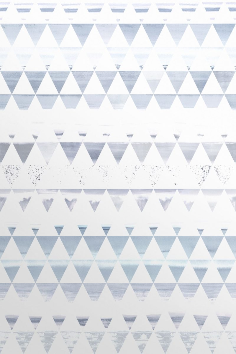 Blue Scandinavian wallpaper with ink drawings of scenery in a triangle structure.Scenic Triangles in Ocean Blue Wallpaper Design.