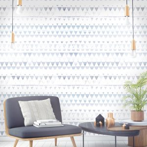 Scenic Triangles blue Scandinavian wallpaper with triangle stripes. Hand drawn landscape scenes with ink.