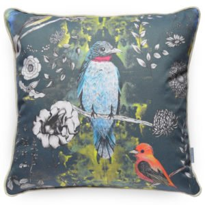 Luxury Handmade Birds Cushion, with blue background, delicate hand drawn white flowers and brightly colour birds. Perfect accessory for contemporary interior.
