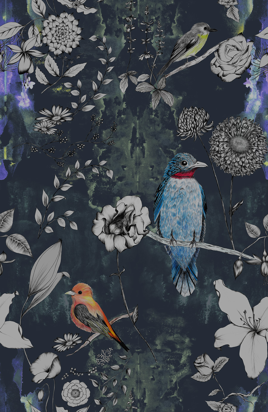 Birds And Flowers Wallpaper Unique Wallaper With Birds Surface House