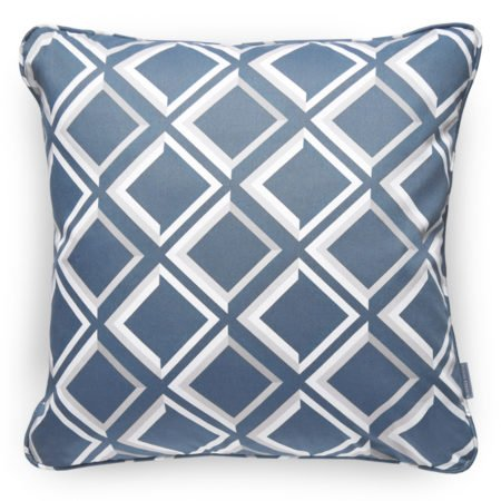 Trompe L'oeil style lattice blue cushion. Create a contemporary geometric focal point in an interior by placing this cushion of your favourite chair.