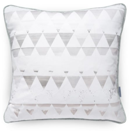 Scenic Triangle Light Grey Cushion, stripes containing delicate hand drawn scenery and landscapes. A luxury handmade cushion with a unique style.